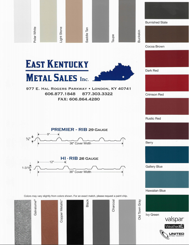 Color Chart Eastern Kentucky Metal Sales Inc