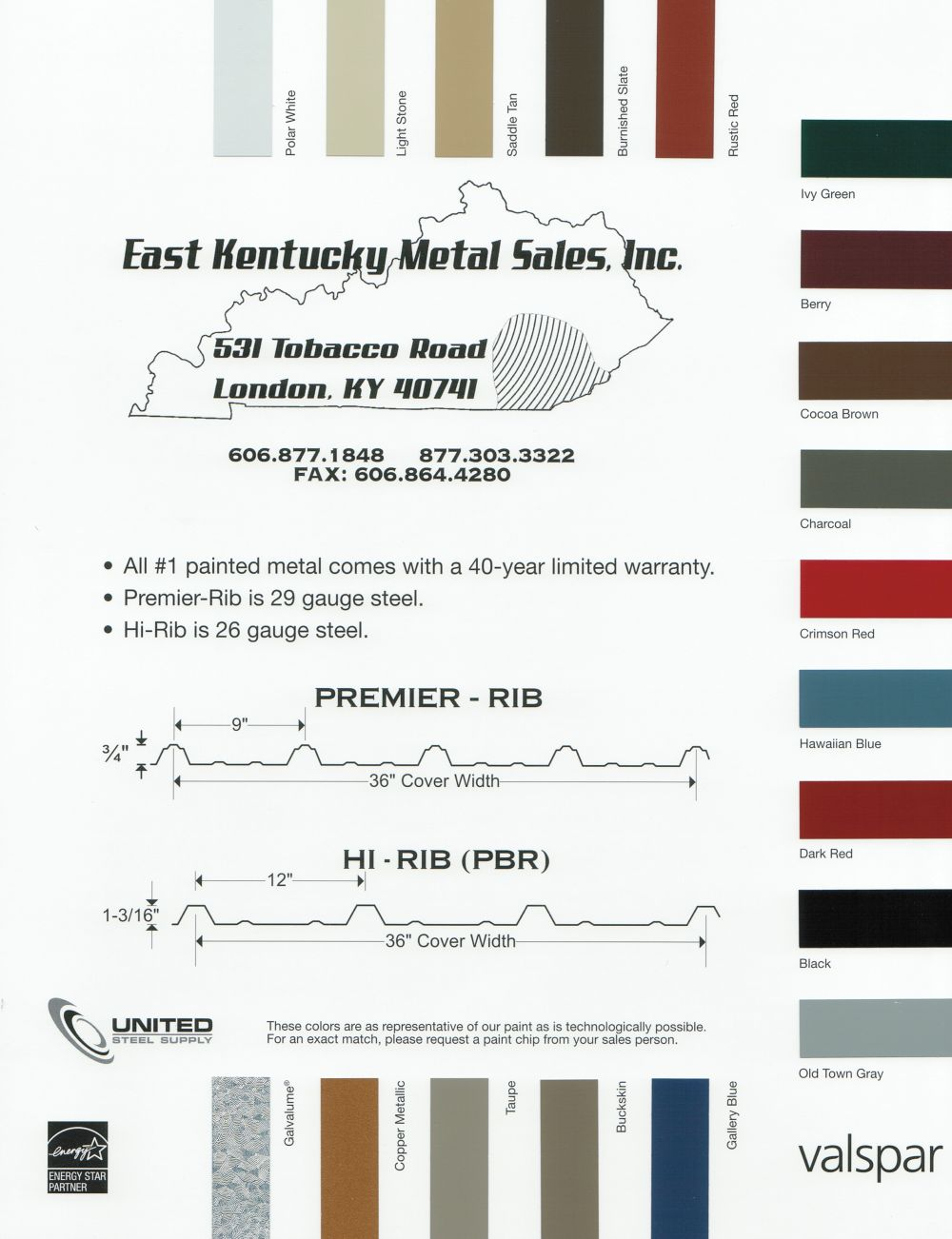 Color chart eastern kentucky metal sales inc click image to enlarge nvjuhfo Choice Image